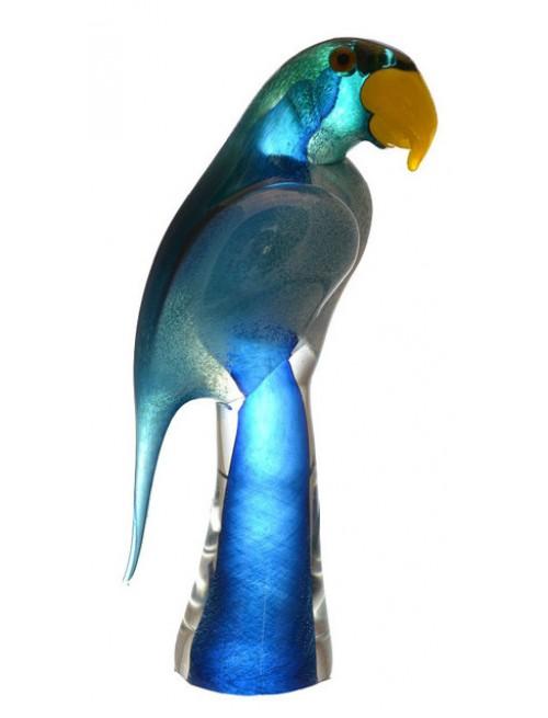 Papagáj, hutné sklo, výška 290 mm