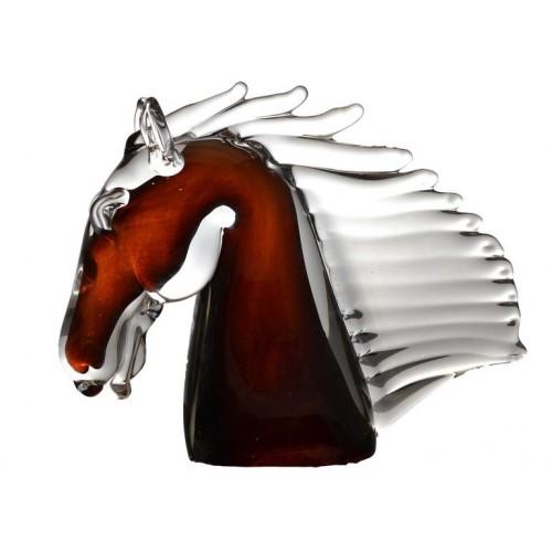 Hlava koňa, hutné sklo, výška 190 mm