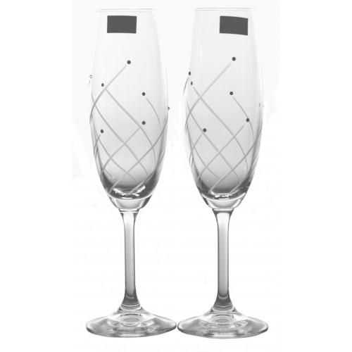 Set pohár na víno Klára 2x, číre sklo - bezolovnaté, dekorované, objem 220 ml