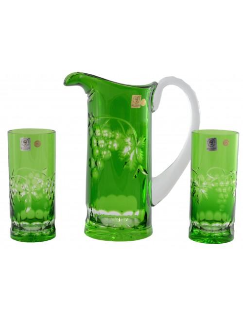 Krištáľový set Grapes, farba zelená, objem 900 ml + 2x 350 ml